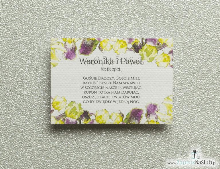 Kwiatowe bileciki do zaproszeń ślubnych – dodatkowe karteczki władane do zaproszeń z kwiatami irysa - ZaprosNaSlub