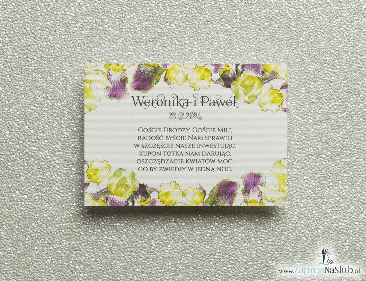 Kwiatowe bileciki do zaproszeń ślubnych - dodatkowe karteczki władane do zaproszeń z kwiatami irysa