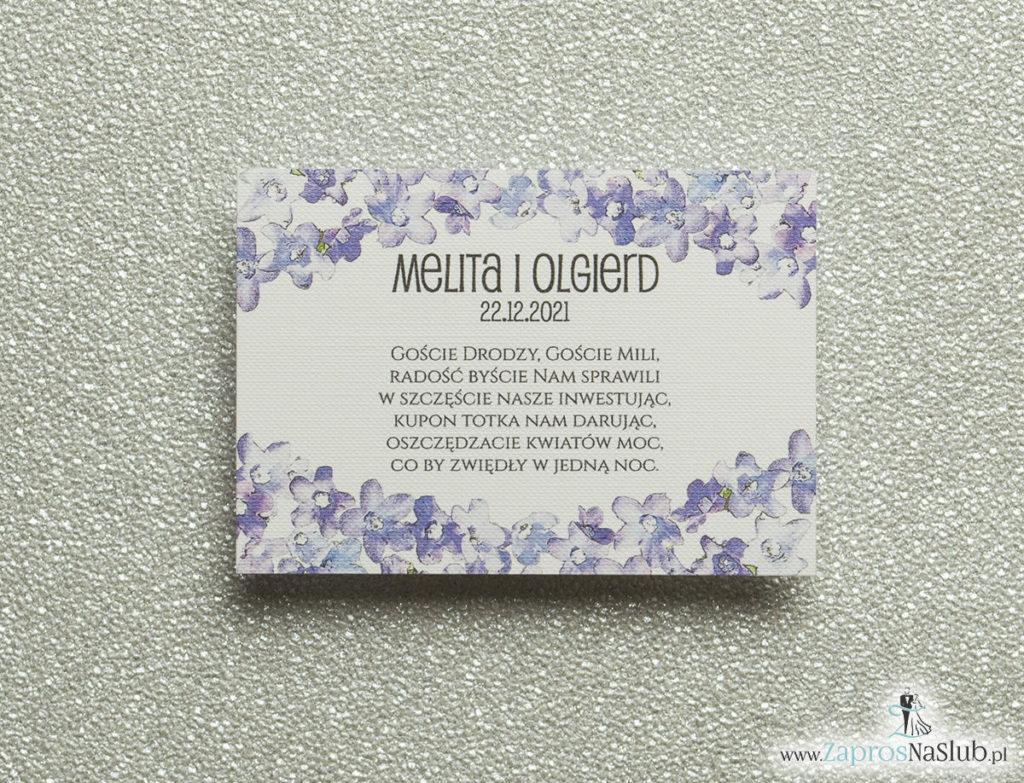 BIL-117 Kwiatowe bileciki do zaproszeń ślubnych - dodatkowe karteczki władane do zaproszeń z polnymi kwiatami - Zaproszenia ślubne na ślub