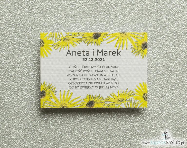 Kwiatowe bileciki do zaproszeń ślubnych – dodatkowe karteczki władane do zaproszeń z kwiatami słonecznika - ZaprosNaSlub