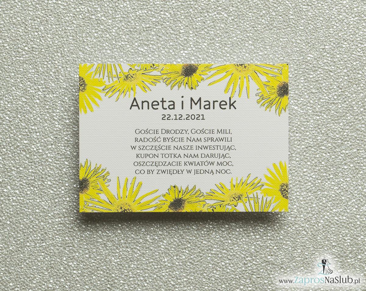 Kwiatowe bileciki do zaproszeń ślubnych - dodatkowe karteczki władane do zaproszeń z kwiatami słonecznika