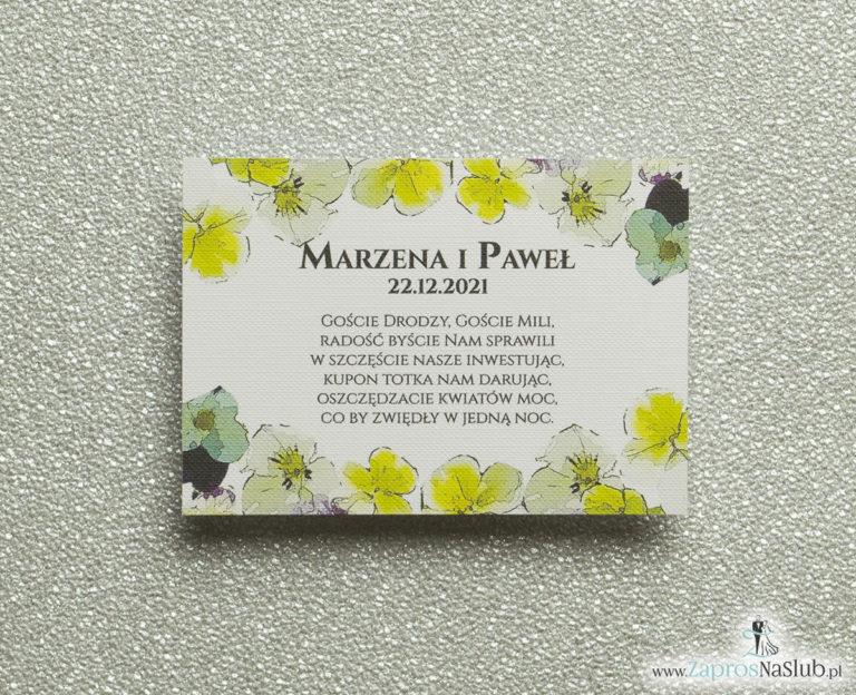 BIL-120 Kwiatowe bileciki do zaproszeń ślubnych - dodatkowe karteczki władane do zaproszeń z kwiatami bratków - Zaproszenia ślubne na ślub
