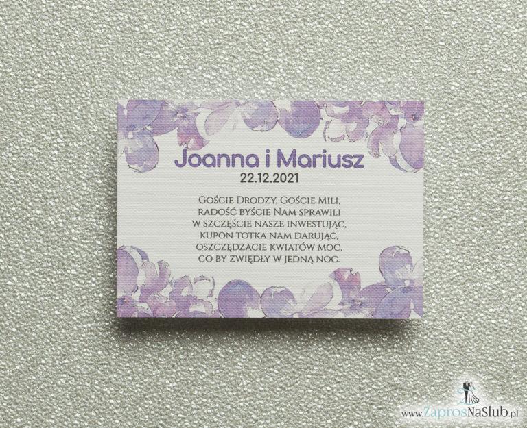 Kwiatowe bileciki do zaproszeń ślubnych – dodatkowe karteczki władane do zaproszeń z kwiatami bzu - ZaprosNaSlub