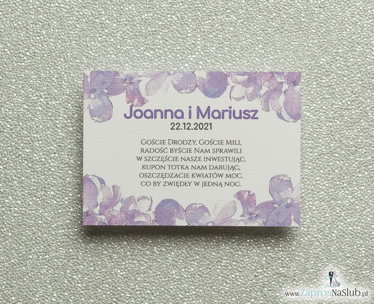 Kwiatowe bileciki do zaproszeń ślubnych - dodatkowe karteczki władane do zaproszeń z kwiatami bzu