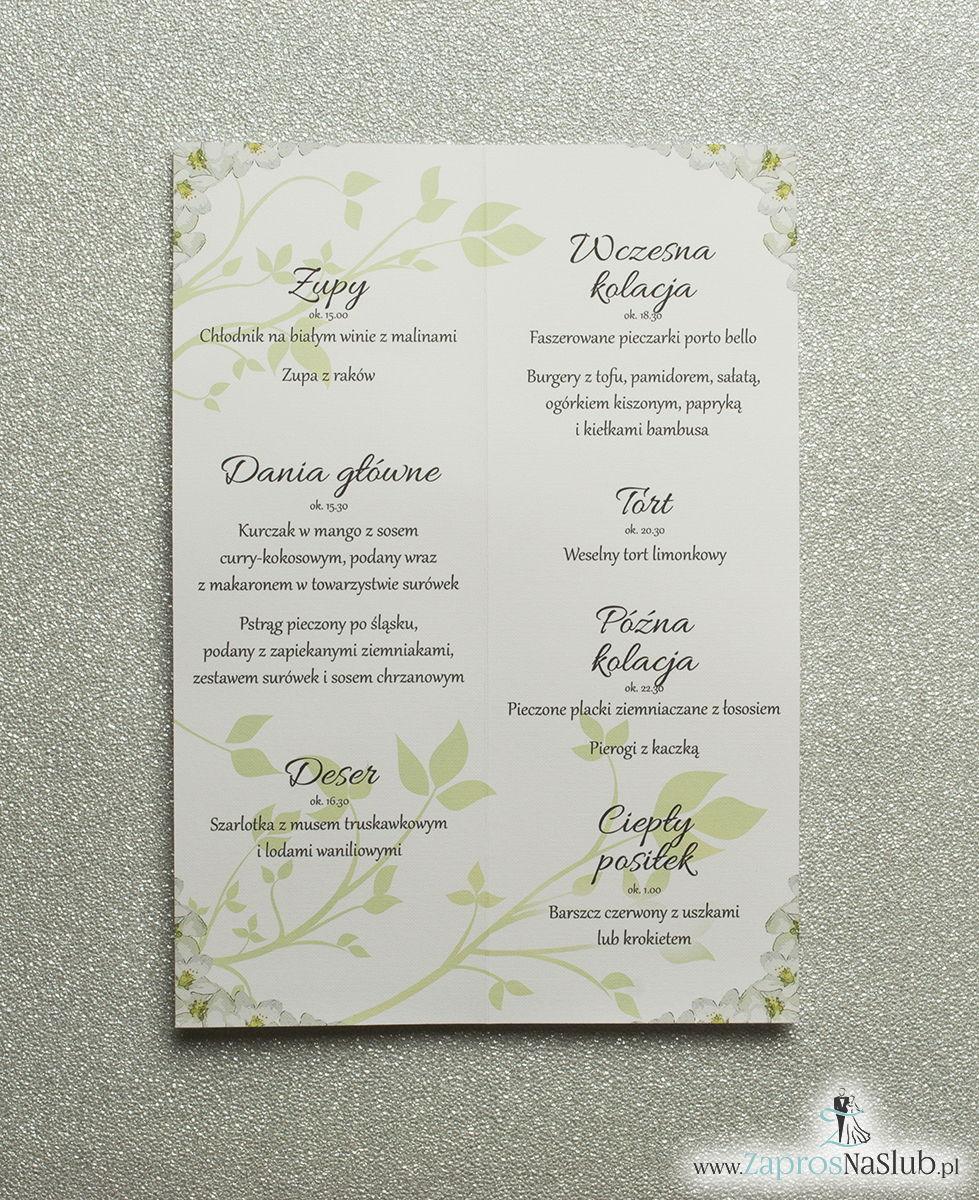 Kwiatowe menu weselne - składane na pół menu z kwiatami jabłoni oraz zieloną wstążką