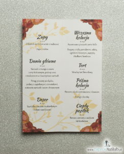 Kwiatowe menu weselne - składane na pół menu z kwiatami maków oraz czerwoną wstążką