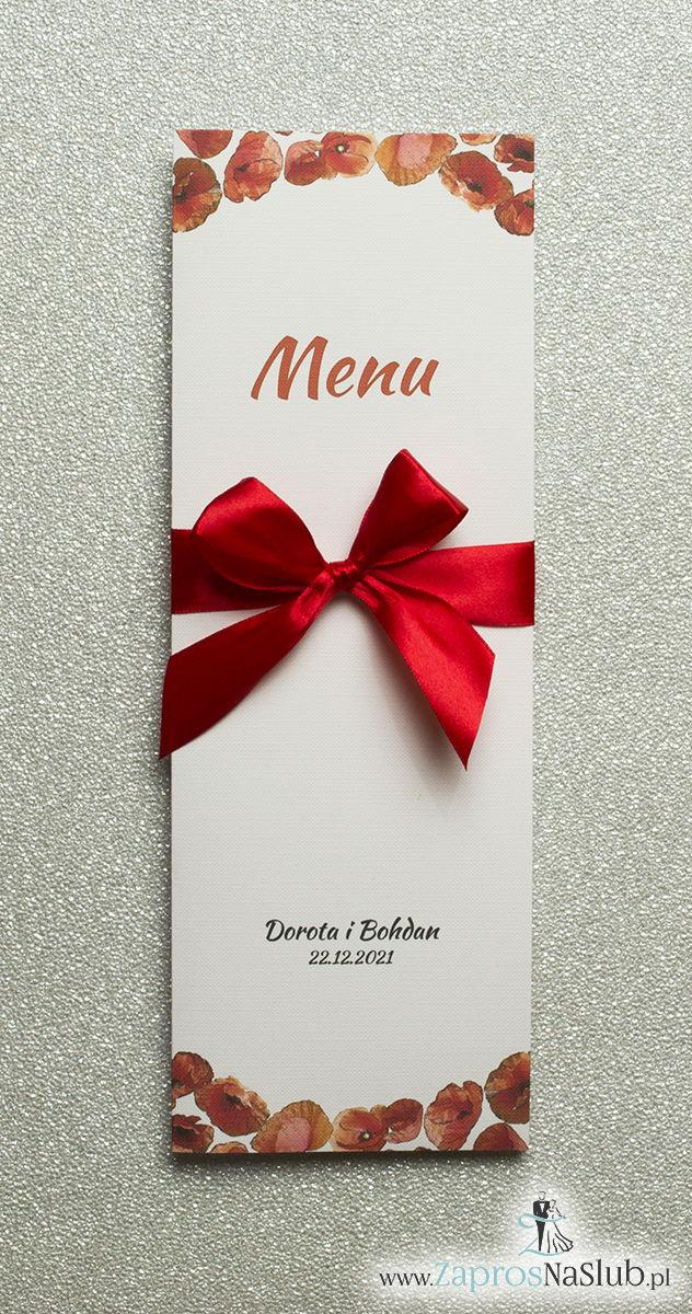 Kwiatowe menu weselne – składane na pół menu z kwiatami maków oraz czerwoną wstążką - ZaprosNaSlub