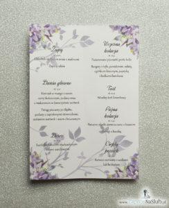 MEN-104 Kwiatowe menu weselne - składane na pół menu z fioletowo-zielonymi kwiatami oraz pistacjową wstążką - zaproszenia ślubne na ślub rew