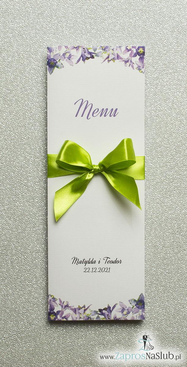 ZaprosNaSlub - Zaproszenia ślubne, personalizowane, boho, rustykalne, kwiatowe księga gości, zawieszki na alkohol, winietki, koperty, plany stołów - Kwiatowe menu weselne – składane na pół menu z fioletowo-zielonymi kwiatami oraz pistacjową wstążką