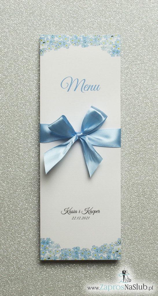MEN-105 Kwiatowe menu weselne - składane na pół menu z kwiatami niezapominajki oraz błękitną wstążką - Zaproszenia ślubne na ślub