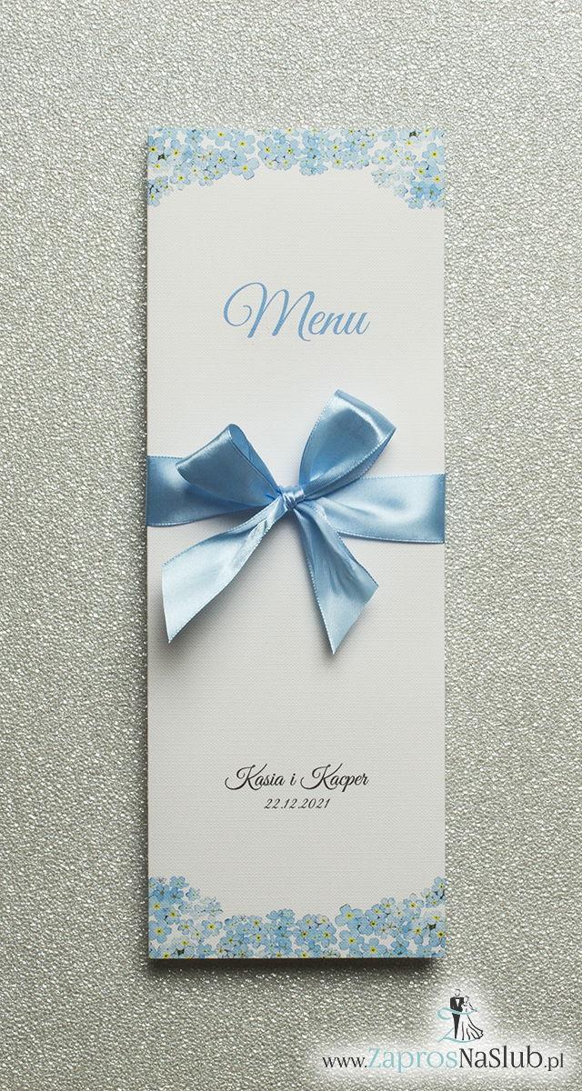 Kwiatowe menu weselne - składane na pół menu z kwiatami niezapominajki oraz błękitną wstążką