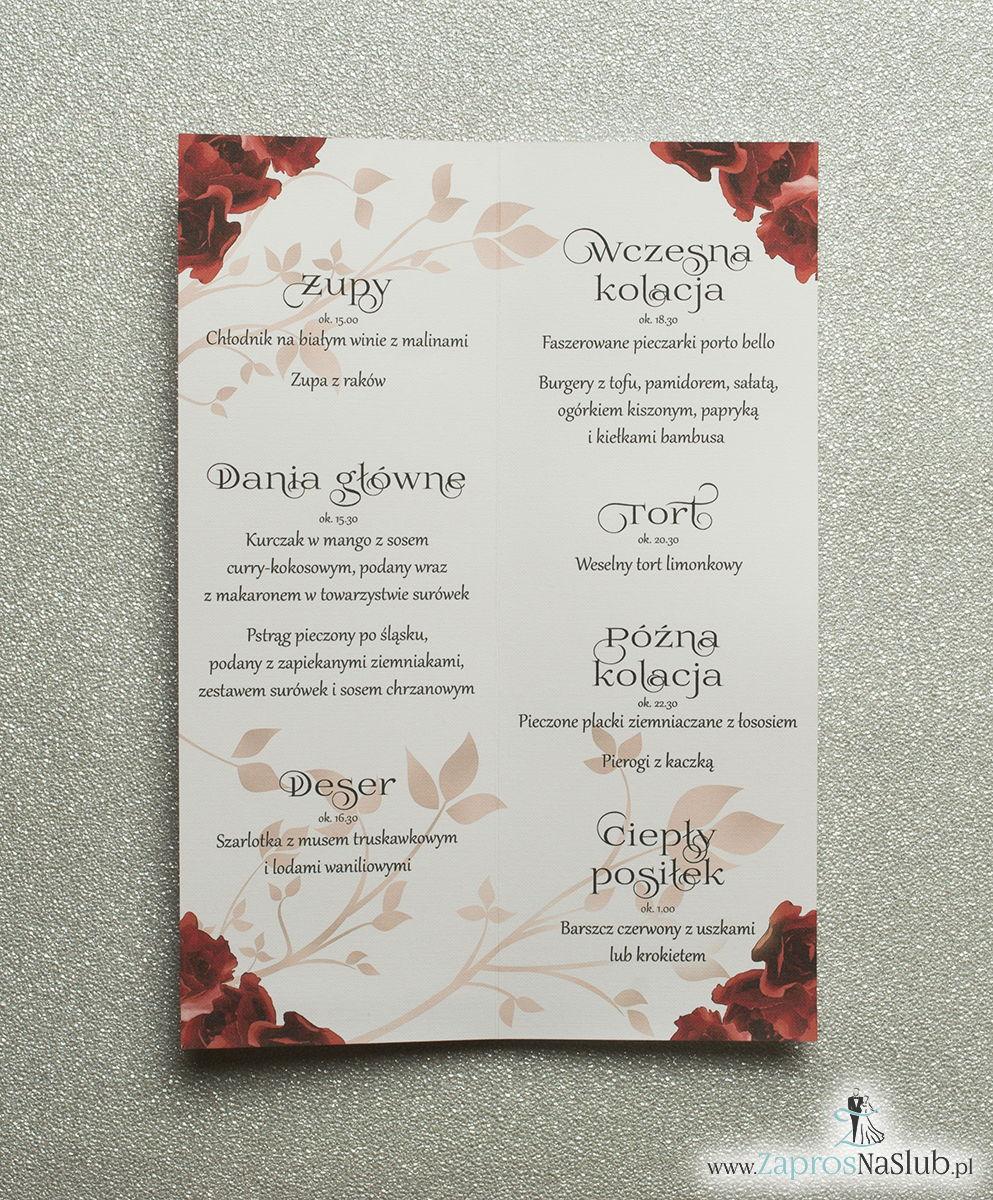 Kwiatowe menu weselne - składane na pół menu z kwiatami róży oraz czerwoną wstążką