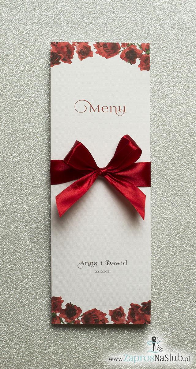 Kwiatowe menu weselne – składane na pół menu z kwiatami róży oraz czerwoną wstążką - ZaprosNaSlub