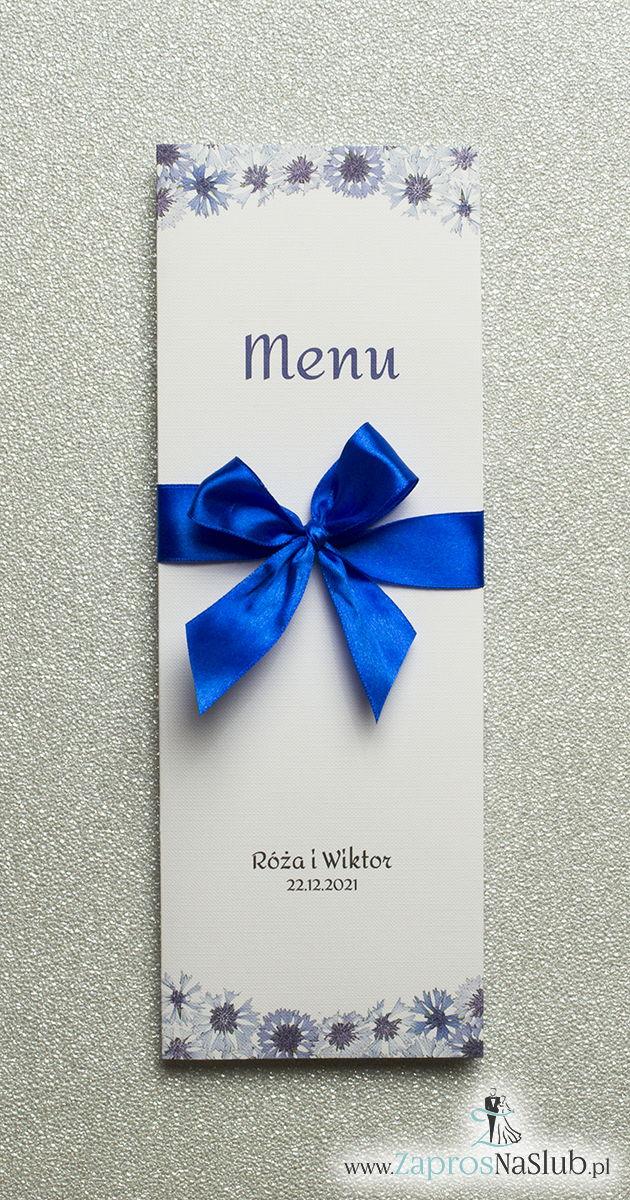 MEN-108 Kwiatowe menu weselne - składane na pół menu z motywem kwiatów chabrów oraz ciemnoniebieską wstążką - zaproszenia ślubne na ślub