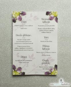 Kwiatowe menu weselne - składane na pół menu z kwiatami irysa oraz żółtą wstążką
