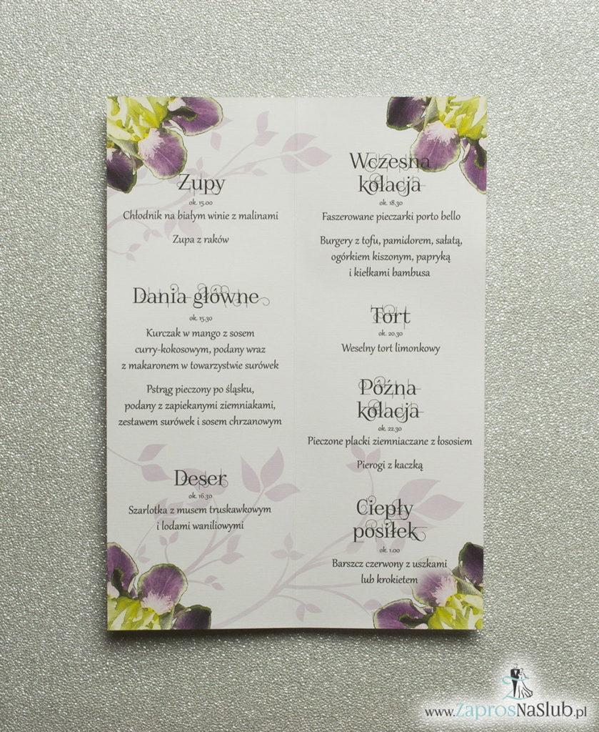 MEN-115 Kwiatowe menu weselne - składane na pół menu z kwiatami irysa oraz żółtą wstążką - zaproszenia ślubne na ślub rew