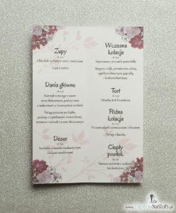 Kwiatowe menu weselne - składane na pół menu z kwiatami goździków oraz ciemnoczerwoną wstążką