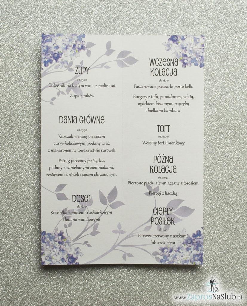 MEN-117 Kwiatowe menu weselne - składane na pół menu z polnymi kwiatami oraz ciemnofioletową wstążką - Zaproszenia ślubne na ślub rew