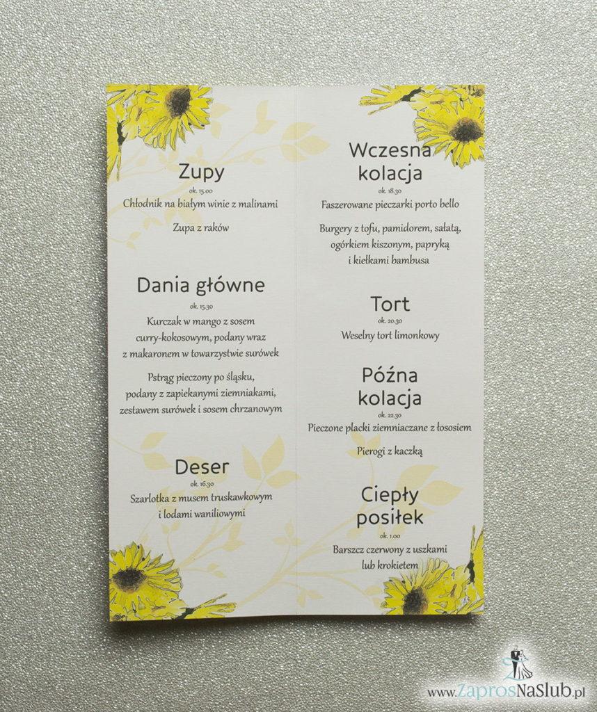 MEN-119 Kwiatowe menu weselne - składane na pół menu z kwiatami słonecznika oraz żółtą wstążką - zaproszenia ślubne na ślub rew