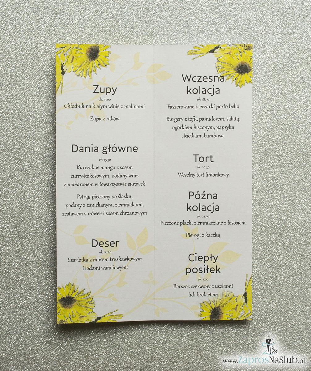Kwiatowe menu weselne - składane na pół menu z kwiatami słonecznika oraz żółtą wstążką
