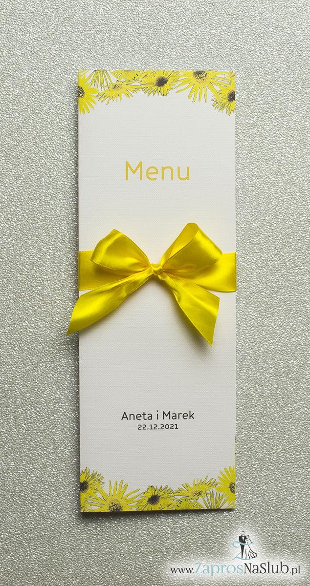 Kwiatowe menu weselne – składane na pół menu z kwiatami słonecznika oraz żółtą wstążką - ZaprosNaSlub
