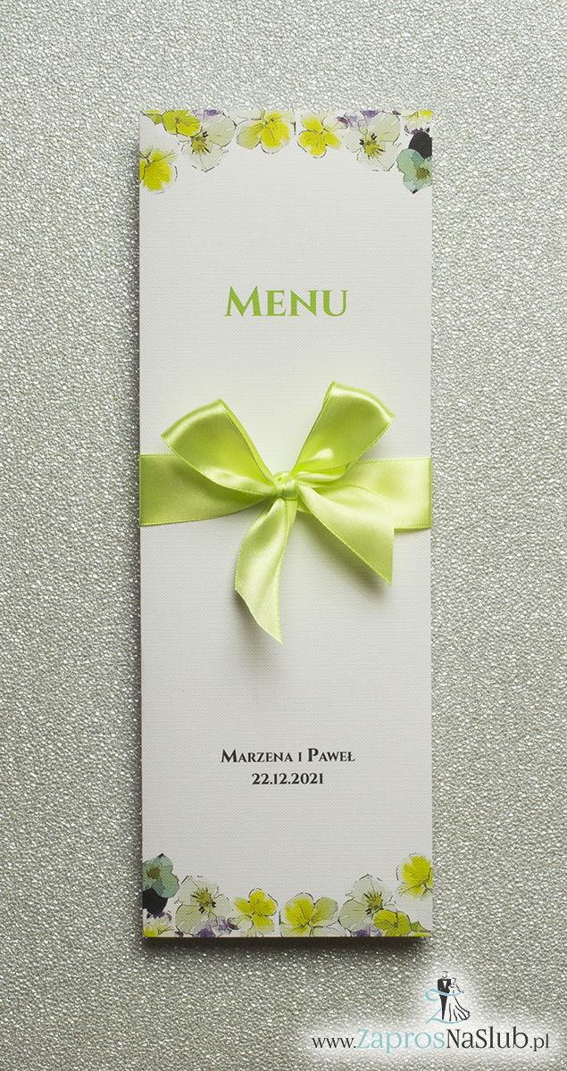 ZaprosNaSlub - Zaproszenia ślubne, personalizowane, boho, rustykalne, kwiatowe księga gości, zawieszki na alkohol, winietki, koperty, plany stołów - Kwiatowe menu weselne – składane na pół menu z kwiatami bratków oraz zieloną wstążką