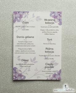 MEN-121 Kwiatowe menu weselne - składane na pół menu z kwiatami bzu oraz różową wstążką - zaproszenia ślubne na ślub rew