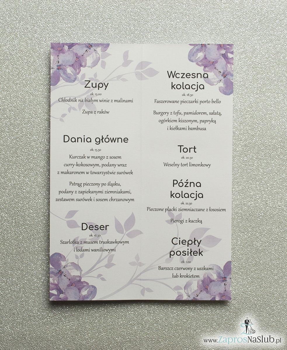 Kwiatowe menu weselne - składane na pół menu z kwiatami bzu oraz różową wstążką