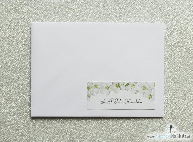 NAK-101 Kwiatowe naklejki na koperty - personalizacja kopert naklejką z kwiatami jabłoni - Zaproszenia ślubne na ślub
