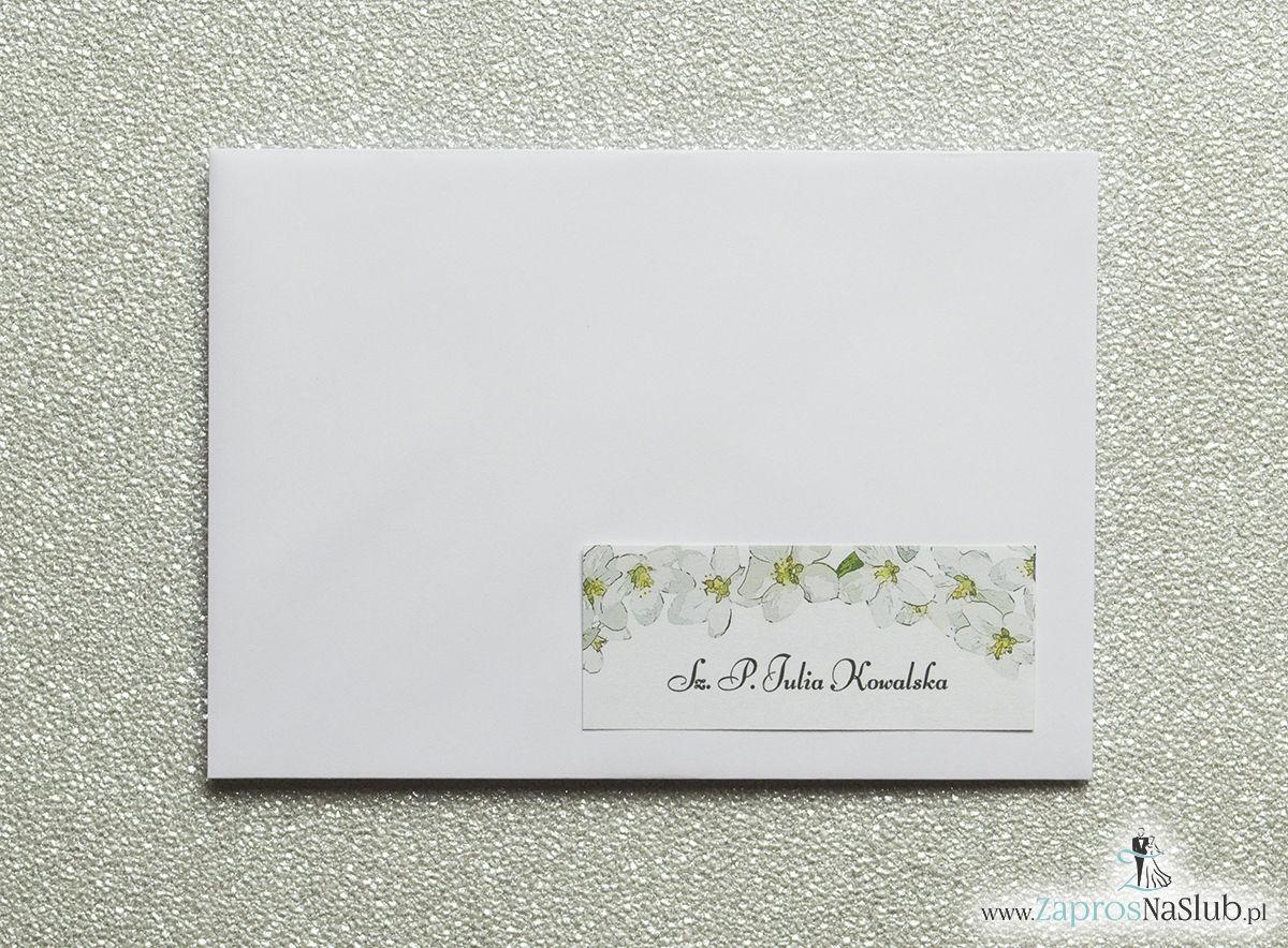 Kwiatowe naklejki na koperty - personalizacja kopert naklejką z kwiatami jabłoni