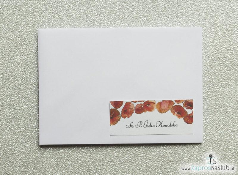 NAK-103 Kwiatowe naklejki na koperty - personalizacja kopert naklejką z kwiatami maków - Zaproszenia ślubne na ślub