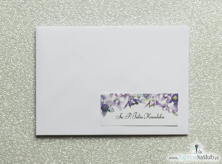 NAK-104 Kwiatowe naklejki na koperty - personalizacja kopert naklejką z fioletowo-zielonymi kwiatami - Zaproszenia ślubne na ślub