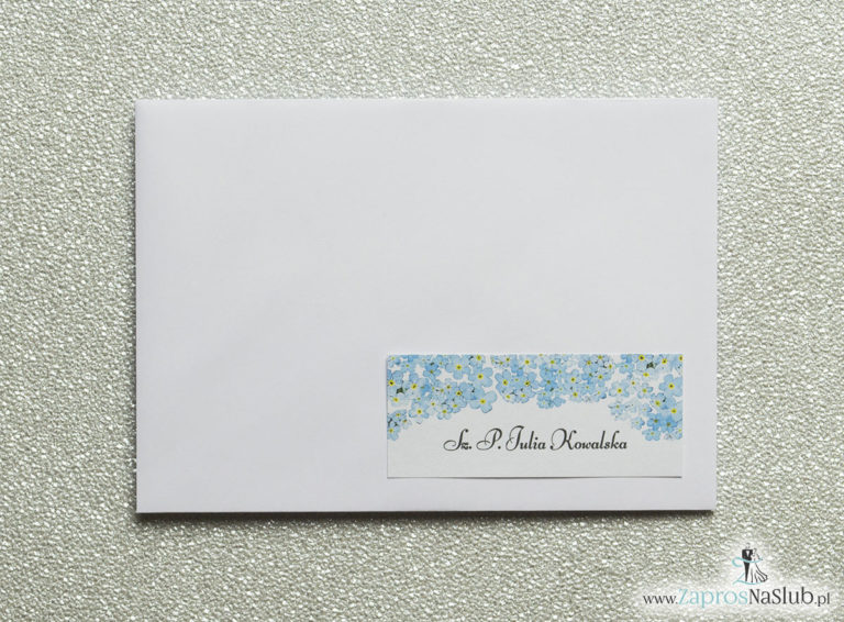 Kwiatowe naklejki na koperty – personalizacja kopert naklejką z kwiatami niezapominajki - ZaprosNaSlub