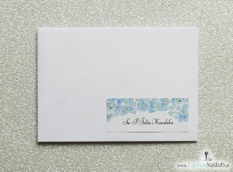 NAK-105 Kwiatowe naklejki na koperty - personalizacja kopert naklejką z kwiatami niezapominajki - Zaproszenia ślubne na ślub