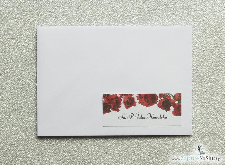 NAK-106 Kwiatowe naklejki na koperty - personalizacja kopert naklejką z kwiatami róży - Zaproszenia ślubne na ślub
