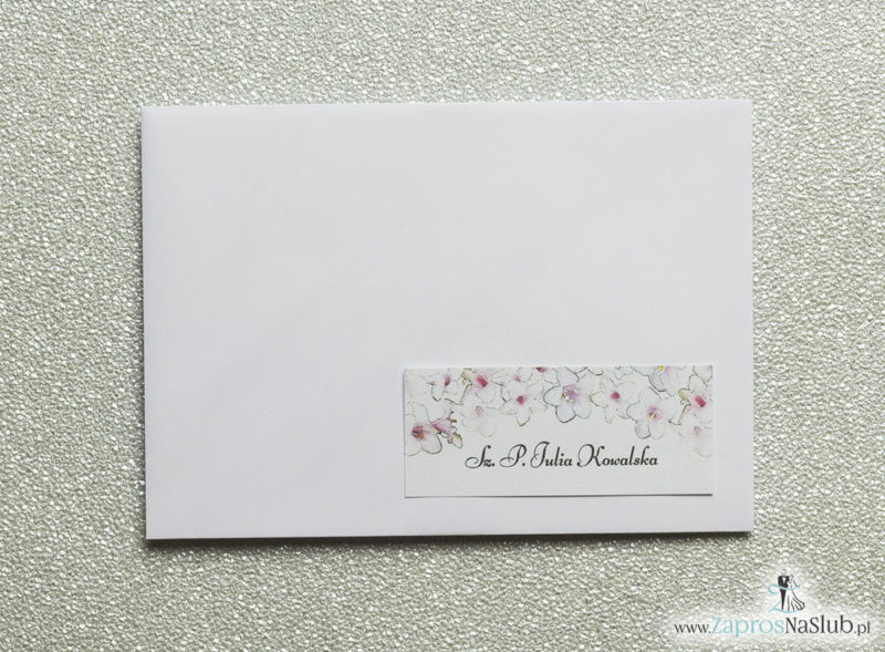 NAK-107 Kwiatowe naklejki na koperty - personalizacja kopert naklejką z różowo-białymi kwiatami - Zaproszenia ślubne na ślub