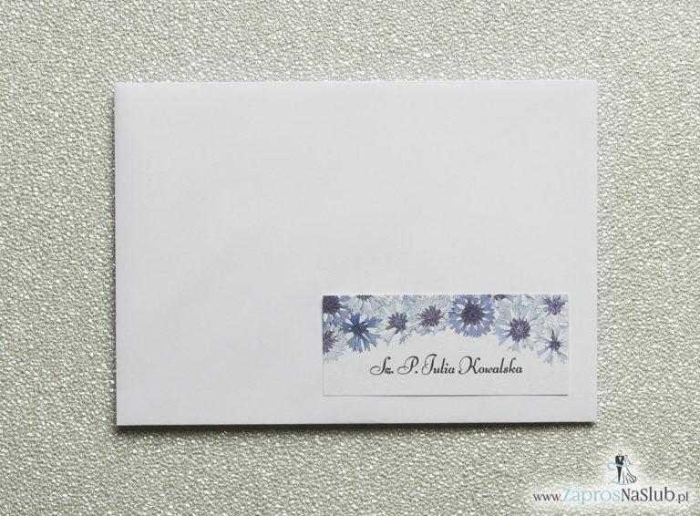 NAK-108 Kwiatowe naklejki na koperty - personalizacja kopert naklejką z kwiatami chabrów - Zaproszenia ślubne na ślub