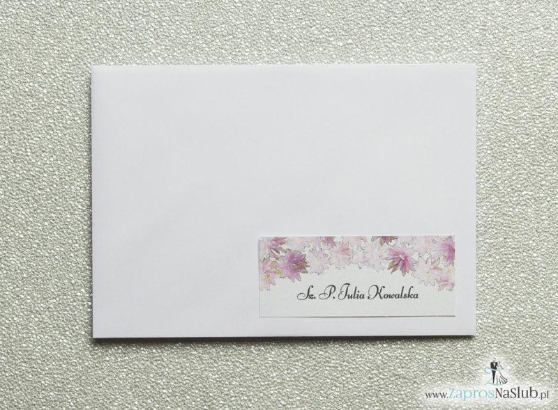 NAK-109 Kwiatowe naklejki na koperty - personalizacja kopert naklejką z różowymi kwiatami - Zaproszenia ślubne na ślub