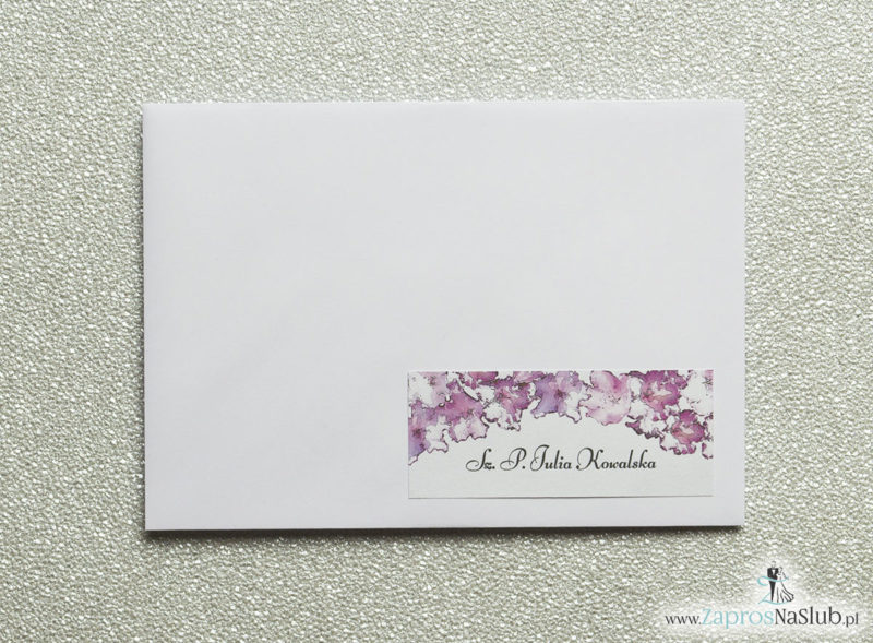 NAK-113 Kwiatowe naklejki na koperty - personalizacja kopert naklejką z kwiatami rododendronu - Zaproszenia ślubne na ślub
