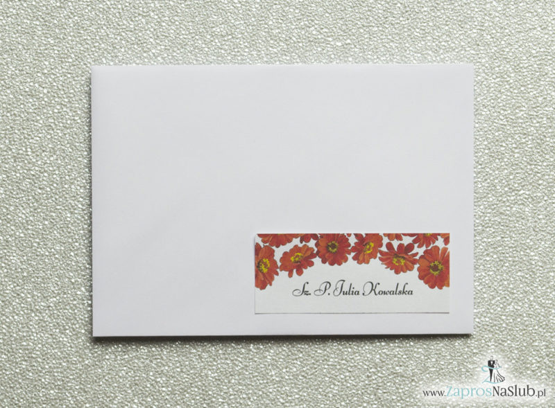 NAK-114 Kwiatowe naklejki na koperty - personalizacja kopert naklejką z kwiatami gerbera - Zaproszenia ślubne na ślub