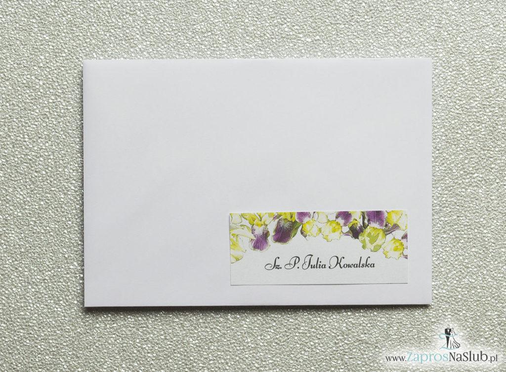 NAK-115 Kwiatowe naklejki na koperty - personalizacja kopert naklejką z kwiatami irysa - Zaproszenia ślubne na ślub