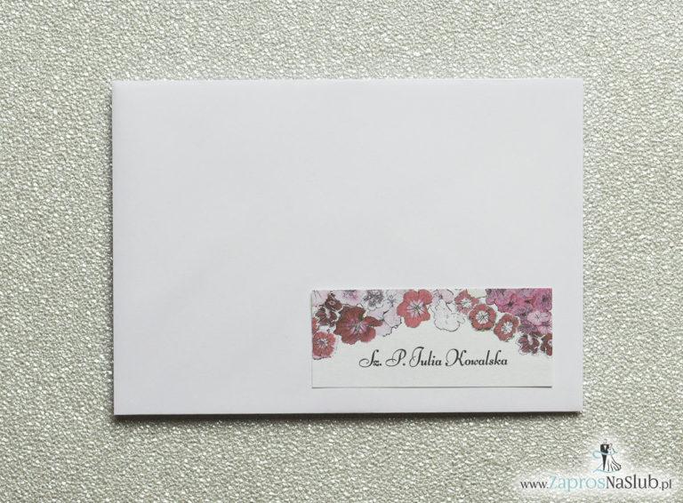 NAK-116 Kwiatowe naklejki na koperty - personalizacja kopert naklejką z kwiatami goździków - Zaproszenia ślubne na ślub