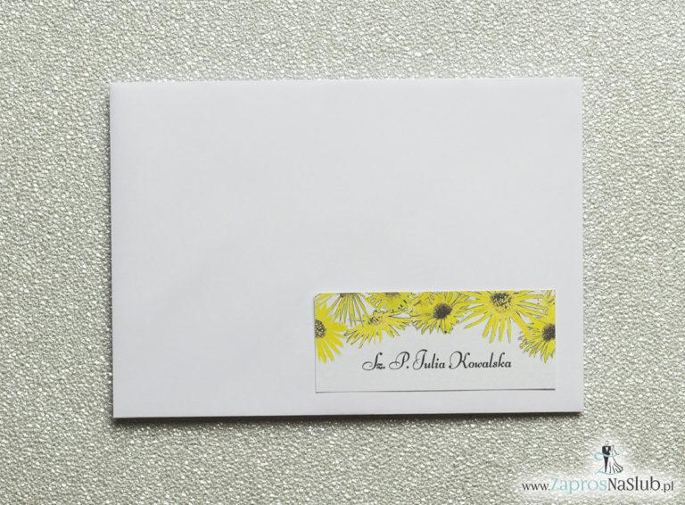 NAK-119 Kwiatowe naklejki na koperty - personalizacja kopert naklejką z kwiatami słonecznika - Zaproszenia ślubne na ślub