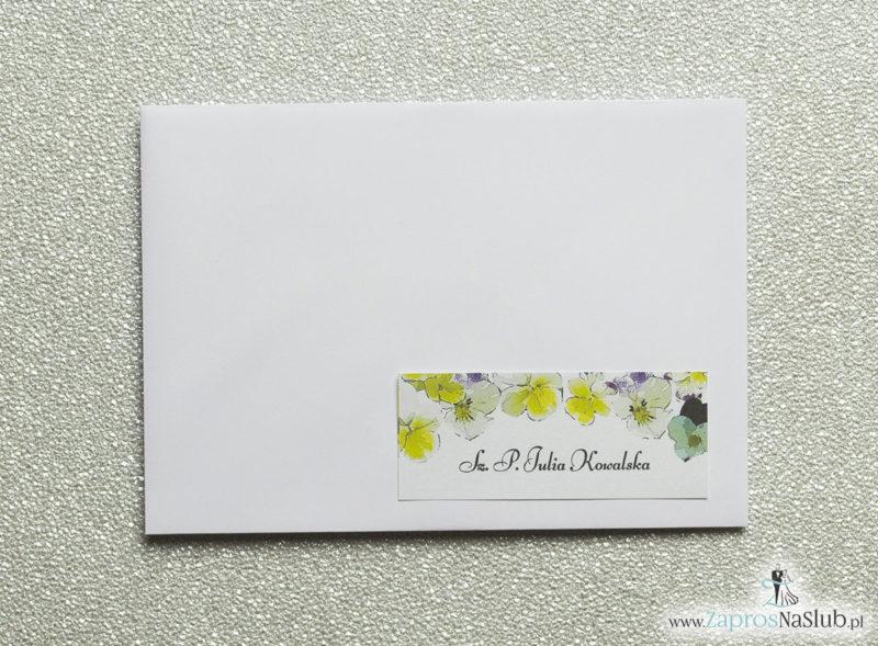 NAK-120 Kwiatowe naklejki na koperty - personalizacja kopert naklejką z kwiatami bratków - Zaproszenia ślubne na ślub