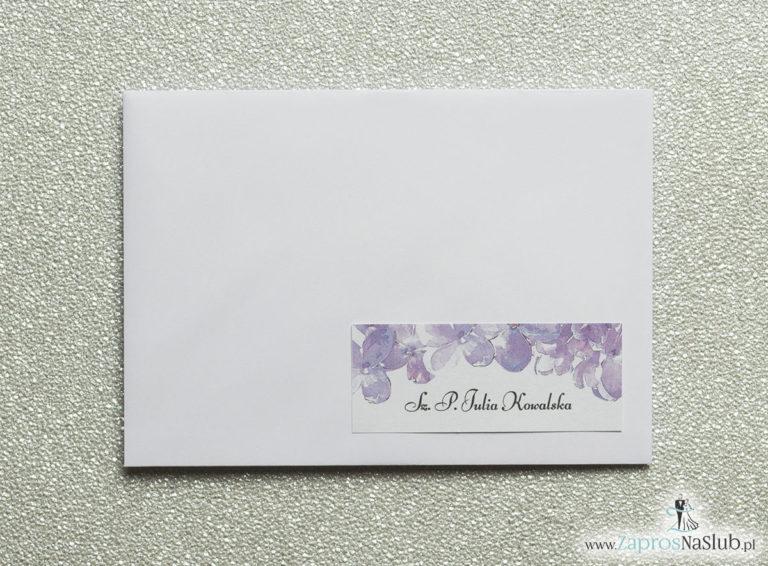 NAK-121 Kwiatowe naklejki na koperty - personalizacja kopert naklejką z kwiatami bzu - Zaproszenia ślubne na ślub
