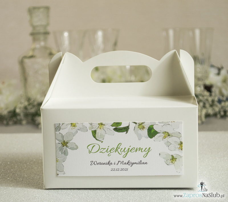 PDC-101 Kwiatowe pudełka na ciasta - podziękowania dla gości w formie pudełek na ciasto z motywem kwiatów jabłoni - Zaproszenia ślubne na ślub