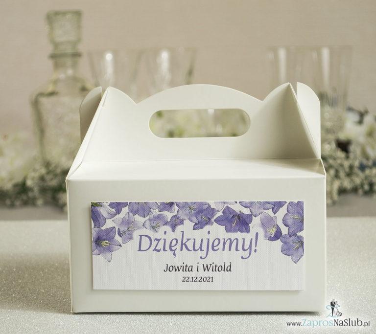 Kwiatowe pudełka na ciasta – podziękowania dla gości w formie pudełek na ciasto z motywem kwiatów dzwonków - ZaprosNaSlub