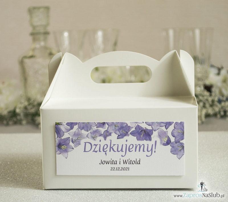 PDC-102 Kwiatowe pudełka na ciasta - podziękowania dla gości w formie pudełek na ciasto z motywem kwiatów dzwonków - Zaproszenia ślubne na ślub