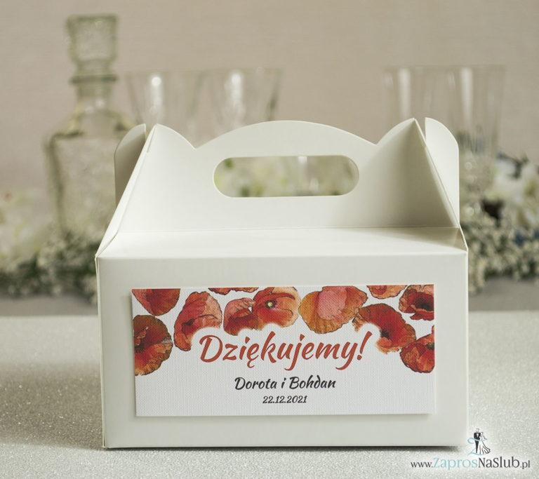 Kwiatowe pudełka na ciasta – podziękowania dla gości w formie pudełek na ciasto z motywem kwiatów maków - ZaprosNaSlub