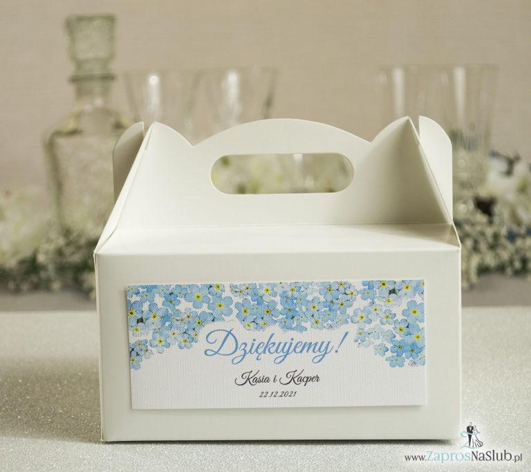 Kwiatowe pudełka na ciasta – podziękowania dla gości w formie pudełek na ciasto z motywem kwiatów niezapominajki - ZaprosNaSlub
